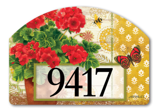 "Potted Geraniums Yard DeSign Address Sign - 14"" x 10"""