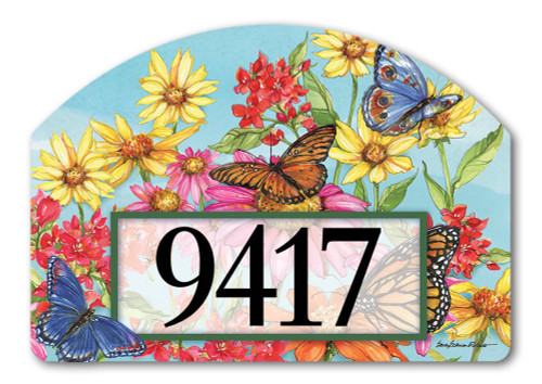 "Field of Butterflies Yard DeSign Address Sign - 14"" x 10"""