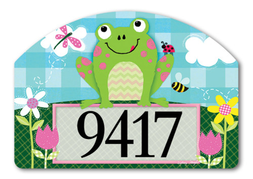 "Happy Frog Yard DeSign Address Sign - 14"" x 10"""