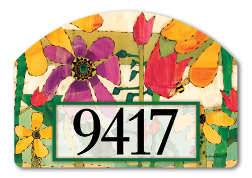 "Flower Garden Yard DeSign Address Sign - 14"" x 10"""