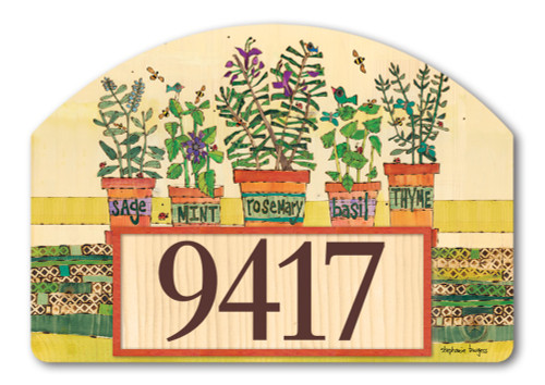 "Herb Garden Yard DeSign Address Sign - 14"" x 10"""