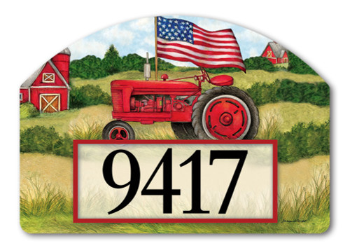 "Patriotic Tractor Yard DeSign Address Sign - 14"" x 10"""