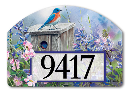 "Bluebird Lookout Yard DeSign Address Sign - 14"" x 10"""