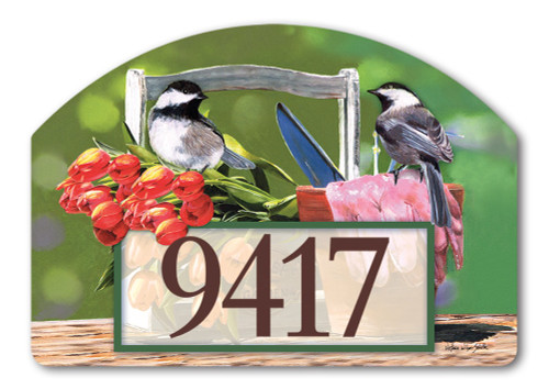 "Chickadee Rest Stop Yard DeSign Address Sign - 14"" x 10"""