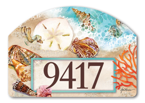 "Seashore Treasures Yard DeSign Address Sign - 14"" x 10"""