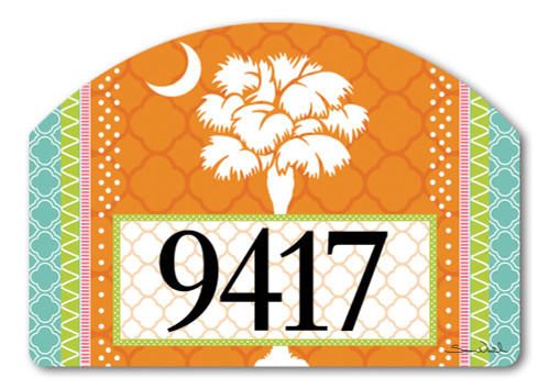 "Preppy Palmetto Yard DeSign Address Sign - 14"" x 10"""