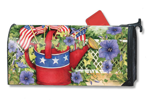 Patriotic Watering Can Magnetic Mailbox Cover