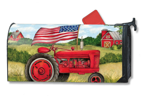 Patriotic Tractor Magnetic Mailbox Cover