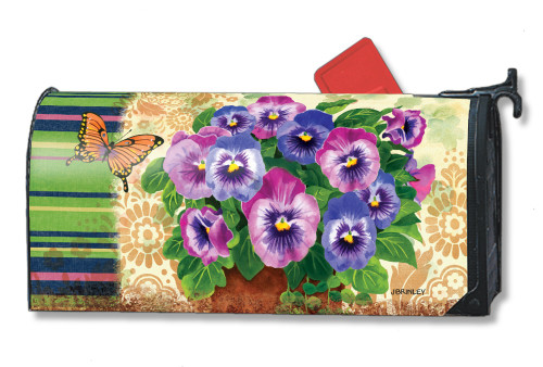 Pretty Pansies Magnetic Mailbox Cover