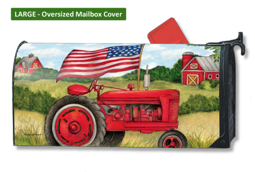 Patriotic Tractor LARGE Magnetic Mailbox Cover