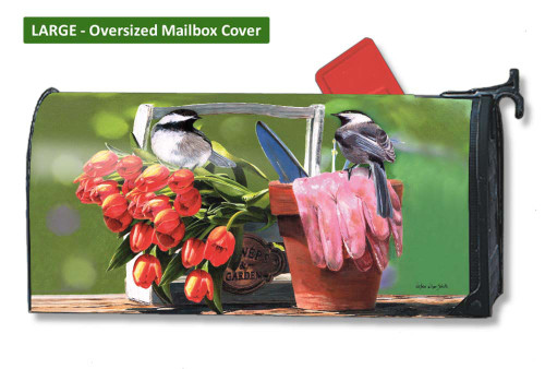 Chickadee Rest Stop LARGE Magnetic Mailbox Cover
