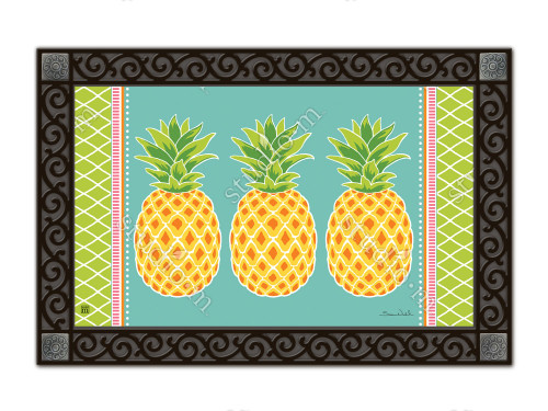 "Preppy Pineapple MatMates Doormat - 18"" x 30"""