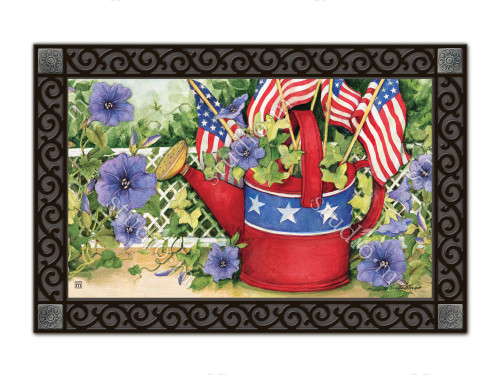"Patriotic Watering Can MatMates Doormat - 18"" x 30"""