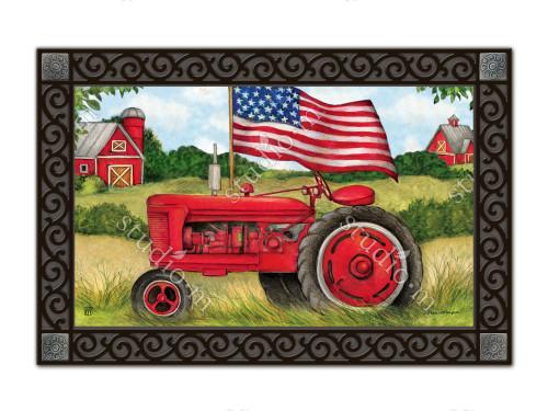 "Patriotic Tractor MatMates Doormat - 18"" x 30"""