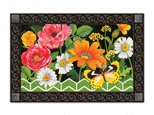 "Fancy Floral MatMates Doormat - 18"" x 30"""