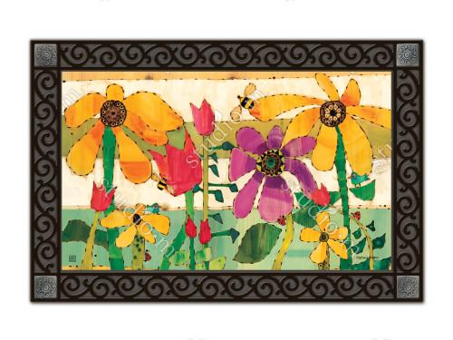 """Flower Garden MatMates Doormat - 18"""" x 30"""""""