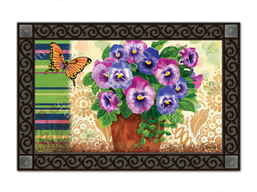"Pretty Pansies MatMates Doormat - 18"" x 30"""
