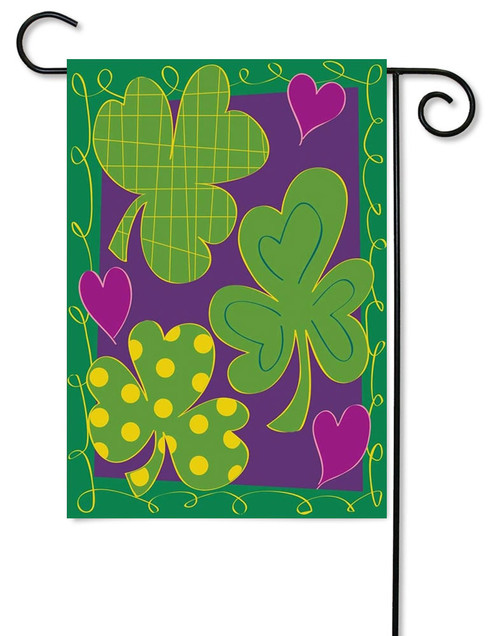 Shamrocks Applique Garden Flag by Magnolia Gardens
