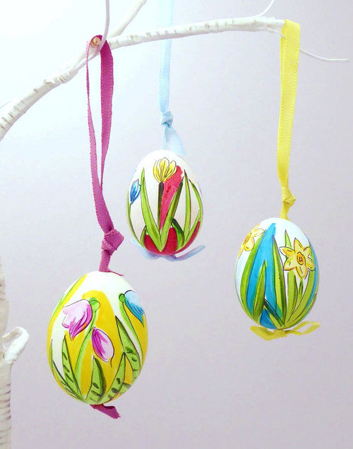 Vibrant Flowers Hanging Ornament Eggs - Set of 5