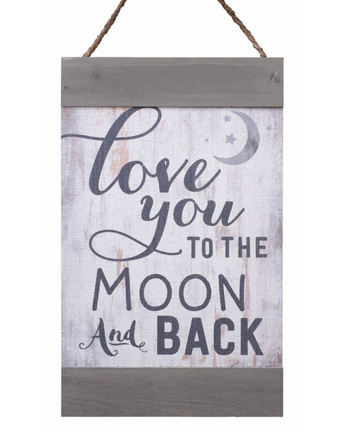 Love You To The Moon And Back Distressed 11 x 18 Inch Solid Pine Wood Hanging Wall Banner