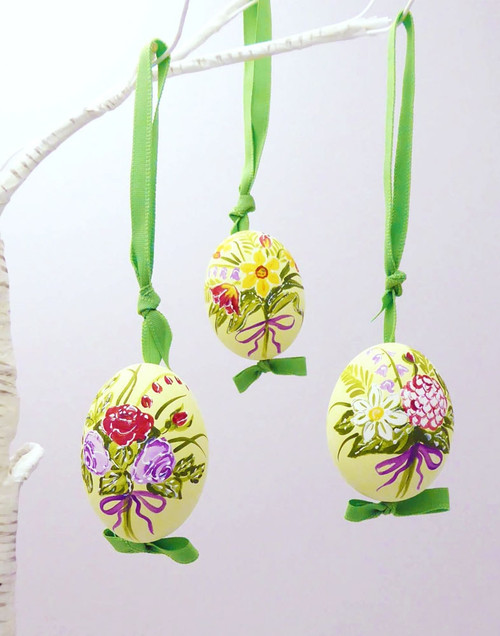 Colorful Bouquets Hanging Ornament Eggs - Set of 5
