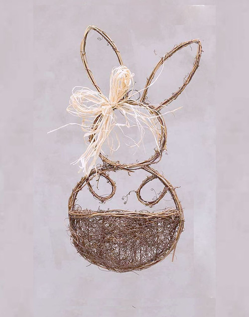 Small Twig Bunny Wall Basket With Raffia Bow