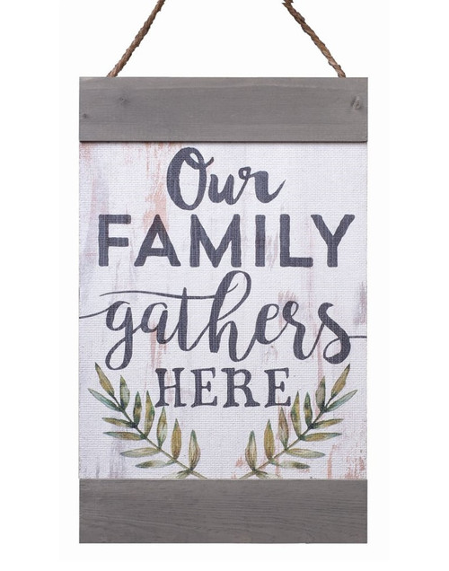 Our Family Gathers Here Distressed 11 x 18 Inch Solid Pine Wood Hanging Wall Banner