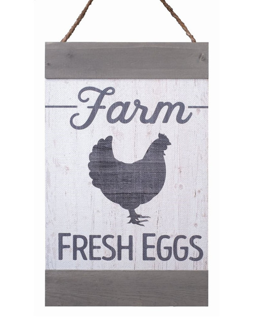 Farm Fresh Eggs Distressed 11 x 18 Inch Solid Pine Wood Hanging Wall Banner