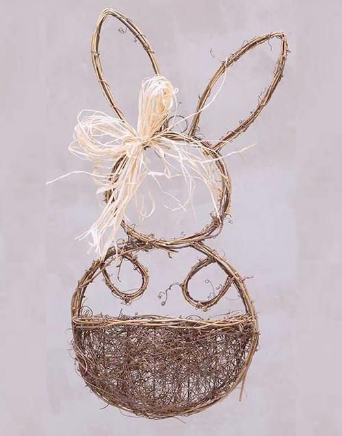 Large Twig Bunny Wall Basket With Raffia Bow