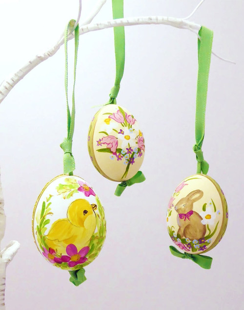 Easter Bunnies And Chicks Hanging Ornament Eggs - Set of 4