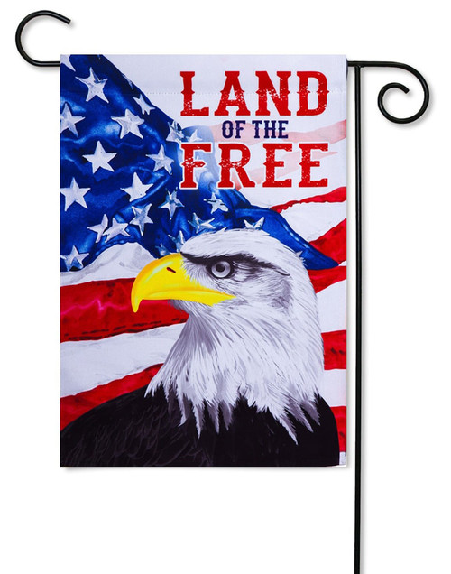 "Land of the Free Eagle Patriotic Garden Flag - 12.5"" x 18"" - 2-Sided Message - Evergreen"