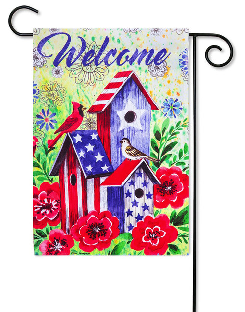 "American Patriotic Birdhouse Decorative Garden Flag - 12.5"" x 18"" - 2-Sided Message - Evergreen"