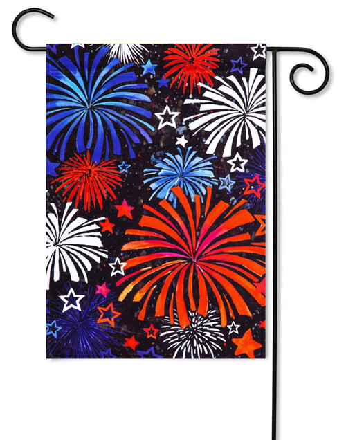 "Patriotic Fireworks Satin Decorative Garden Flag - 12.5"" x 18"" - Evergreen"