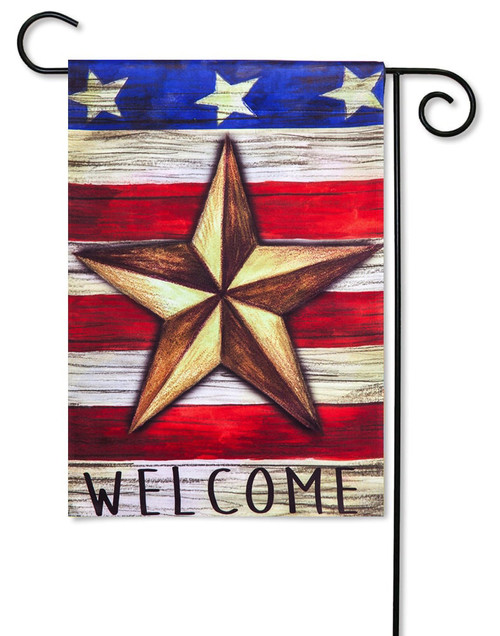 "Patriotic Barn Star Decorative Garden Flag - 12.5"" x 18"" - 2-Sided Message - Evergreen"