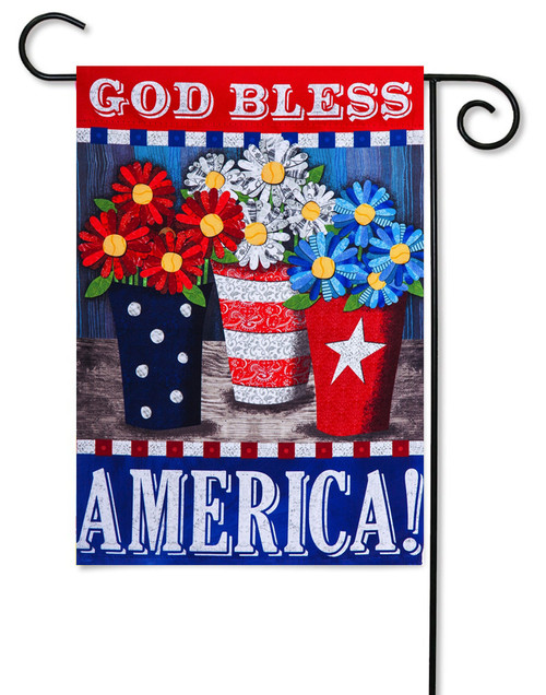 "Patriotic Flower Pots Garden Flag - 12.5"" x 18"" - 2-Sided Message - Evergreen"