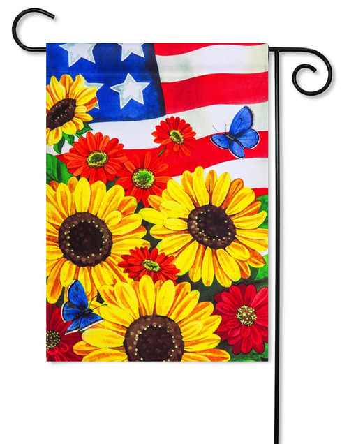 "Patriotic Sunflowers Satin Garden Flag - 12.5"" x 18"" - Evergreen"