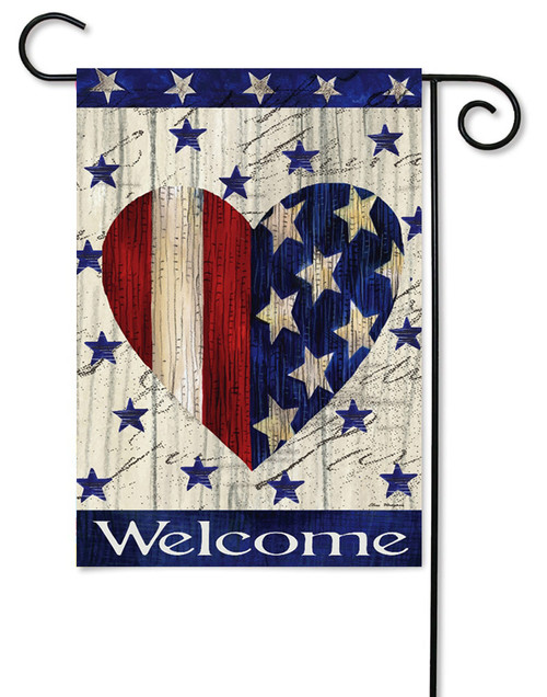"Red & White Striped Heart Patriotic Garden Flag - 12.5"" x 18"" - 2-Sided Message - Evergreen"