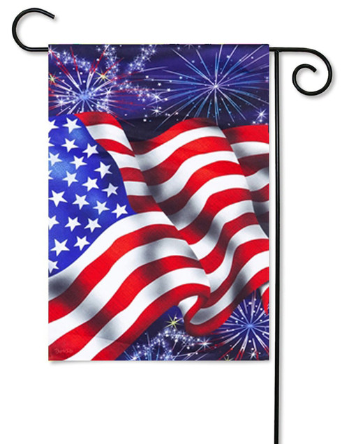 "4th of July Patriotic Garden Flag - 12.5"" x 18"" - 2-Sided Message - Evergreen"