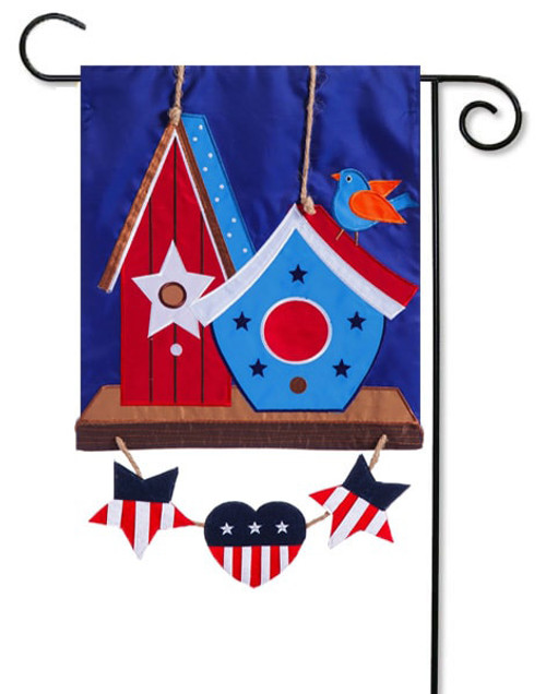 "Rustic Patriotic Birdhouse Applique Garden Flag - 12.5"" x 18"" - Evergreen"
