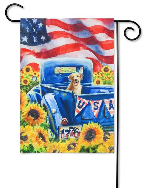 Patriotic Truck and Dog Decorative Garden Flag