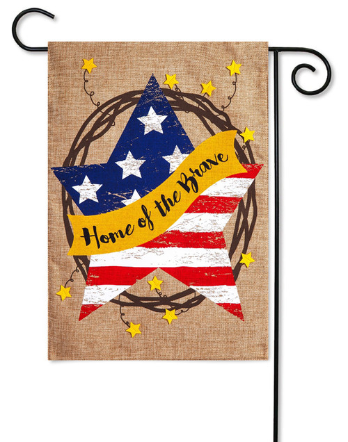 "Home of the Brave Wreath Burlap Garden Flag - 12.5"" x 18"" - 2-Sided Message - Evergreen"
