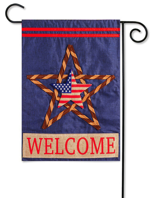 "Patriotic Star Linen Garden Flag - 12.5"" x 18"" - 2-Sided Message - Evergreen"