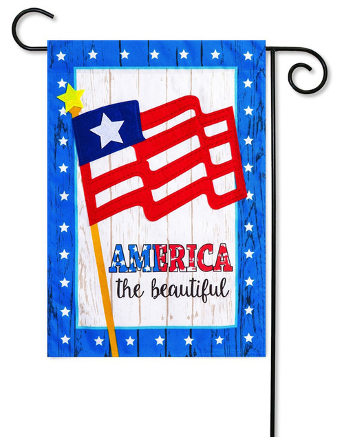 "America the Beautiful Linen Garden Flag - 12.5"" x 18"" - 2-Sided Message - Evergreen"