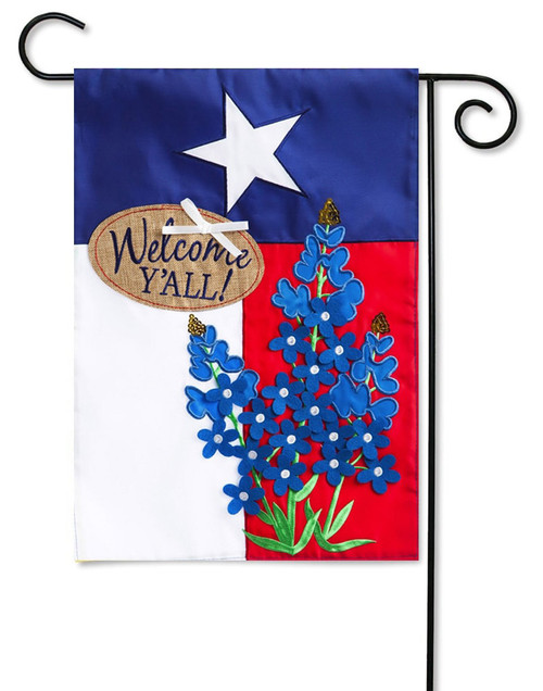 "Blue Bonnets Lone Star Applique Garden Flag - 12.5"" x 18"" - 2-Sided Message - Evergreen"
