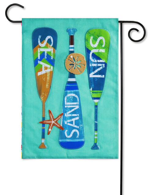 "Oars Burlap Decorative Garden Flag - 12.5"" x 18"" - 2-Sided Message - Evergreen"
