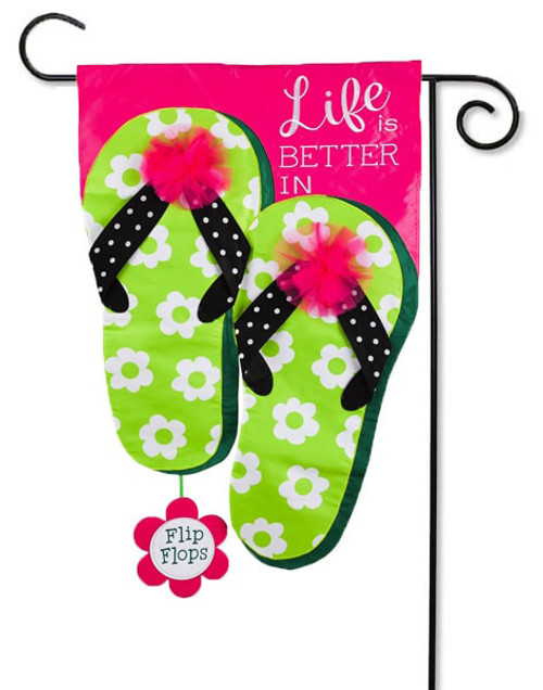 "Life is Good in Flip Flops Applique Garden Flag - 12.5"" x 18"" - 2-Sided Message - Evergreen"