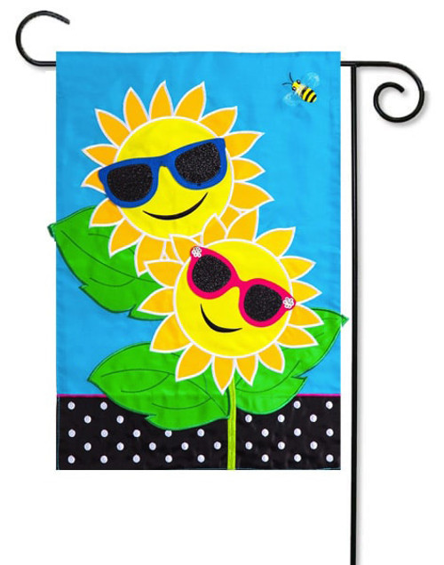 "Fancy Sunny Day Applique Garden Flag - 12.5"" x 18"" - Evergreen"