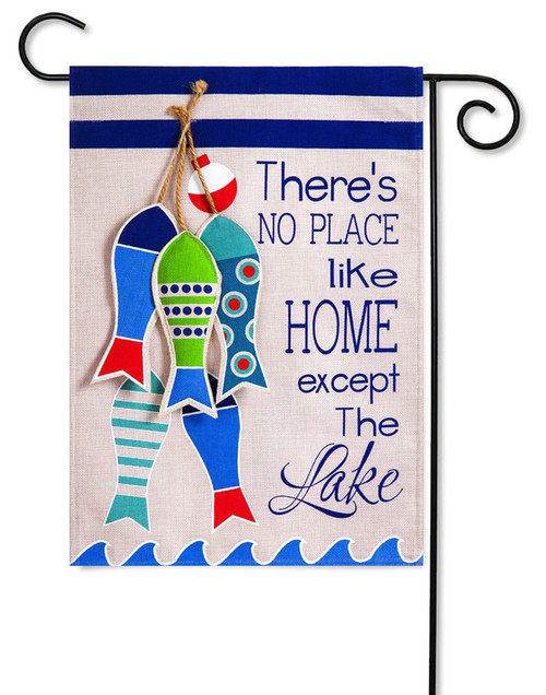 "No Place Like The Lake Burlap Garden Flag - 12.5"" x 18"" - 2-Sided Message - Evergreen"