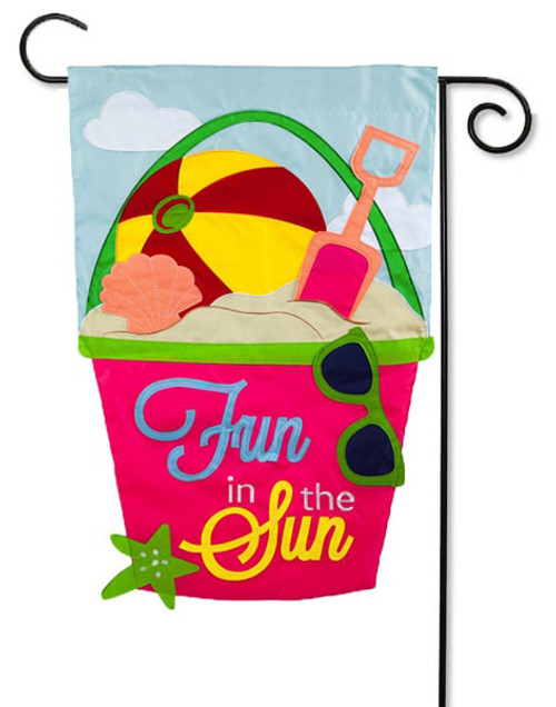 "Fun in the Sun Applique Garden Flag - 12.5"" x 18"" - 2-Sided Message - Evergreen"