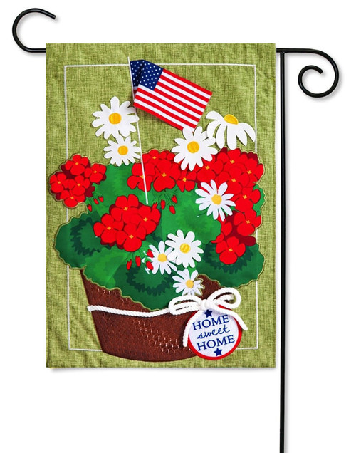 "Patriotic Basket of Flowers Linen Garden Flag - 12.5"" x 18"" - 2-Sided Message - Evergreen"